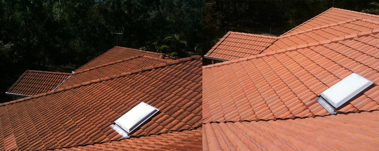 Roof Washing Brisbane Before and After Image | House Washing Experts
